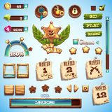 Big set of cartoon style elements for interface design in the game Wild West.  Royalty Free Stock Photos