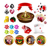 Big Set of Casino Gambling Elements Stock Photos