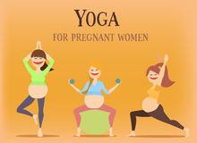 Big set of characters girls do yoga during pregnancy.  illustration Stock Image