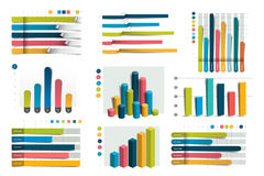 Big set of charst, graphs. Blue color. vector illustration