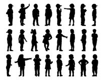 Big set of children standing silhouettes 1 Royalty Free Stock Photos