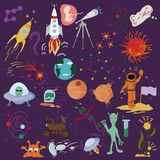 Big set of childrens drawings in the style of flat on a space th. Big set set of childrens vector drawings in the style of flat on the space theme, the planet stock illustration