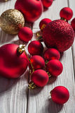 Big set of christmas balls on white wooden boards Stock Photo