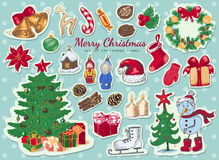 Big set of Christmas colored stickers Stock Images
