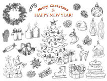 Big set of Christmas decorations in sketch style. Christmas tree, gifts, wreath, snowman, Christmas toys, balls and more Stock Images
