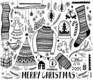 Big set of Christmas design element in doodle style. Hand draw collection New Year. Decorative drawing. Vector illustration royalty free illustration