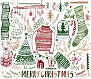 Big set of Christmas design element in doodle style. Hand draw collection New Year. Decorative drawing. Vector illustration stock illustration