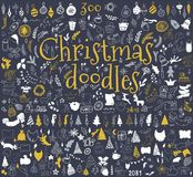Big set of Christmas design elements in doodle style Royalty Free Stock Photography
