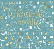 Big set of Christmas design elements in doodle style Stock Images
