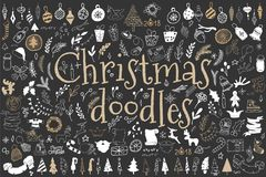 Big set of Christmas design elements in doodle style Royalty Free Stock Image