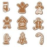 Big set Christmas gingerbread vector illustration