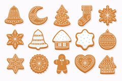 Big set Christmas gingerbread.Vector illustration. Stock Photo