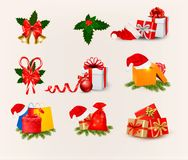 Big set of Christmas icons and objects. Royalty Free Stock Photos