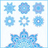 Big set of Christmas snowflakes, circular blue ornaments. Vintage decorative elements. Set of beautiful ethnic, oriental ornament Stock Photos
