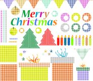 Big set of Christmas stuff.  gift decoration Royalty Free Stock Photo