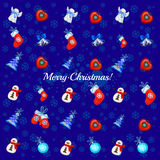 Big set of Christmas toys on a blue background. Big set of different Christmas toys on a blue background royalty free illustration