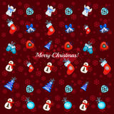 Big set of Christmas toys on a red background. Big set of different Christmas toys on a red background royalty free illustration