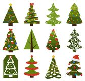 Big Set Christmas Tree Symbols With Without Decor. Big set of Christmas tree symbols with or without decorative elements, abstract spruces with garlands and toys Royalty Free Stock Images