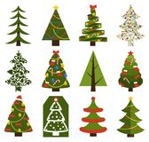 Big Set Christmas Tree Symbols With Without Decor. Big set of Christmas tree symbols with or without decorative elements, abstract spruces with garlands and toys Stock Photos
