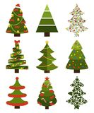 Big Set Christmas Tree Symbols With Without Decor. Big set of Christmas tree symbols with or without decorative elements, abstract spruces with garlands and toys Royalty Free Stock Photos