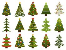 Big Set Christmas Tree Symbols With Without Decor. Big set of Christmas tree symbols with or without decorative elements, abstract spruces with garlands and toys Stock Photography