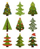 Big Set Christmas Tree Symbols With Without Decor. Big set of Christmas tree symbols with or without decorative elements, abstract spruces with garlands and toys Stock Photo