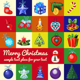 Big set of Christmas tree toys. On a different background vector illustration