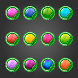 Big set of cicle button with leaves Royalty Free Stock Images