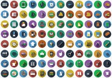 Big set of circle flat design icons Stock Photography