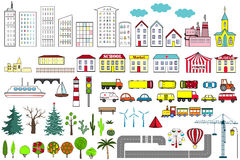 Big set of city elements. Vector illustration. Stock Images