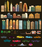 Big set with city elements. Vector illustration Stock Photos
