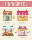 Big set City generator. House constructor. House, cafe Royalty Free Stock Photos