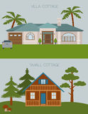 Big set City generator. House constructor. House, cafe, restaurant Stock Images