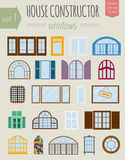 Big set City generator. House constructor. Windows. Make your pe Royalty Free Stock Images
