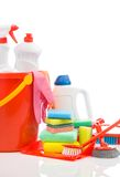 Big set of cleaning items with copyspace. Compostion of big set of cleaning items with copyspace isolated Stock Photo