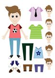 Big set of clothes for the boy Constructor. Hairstyle, dress, shoes, pants, T-shirt. Illustration Stock Images