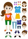 Big set of clothes for the girl Constructor. Hairstyle, dress, shoes, pants, T-shirt. Illustration Stock Photography