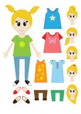 Big set of clothes for the girl Constructor. Hairstyle, dress, shoes, pants, T-shirt. Illustration Stock Photos