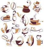 Big SET of  coffee,tea elements Stock Photo