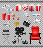 Big set of collection elements of cinema  on transparent background vector illustration. Composition poster. Postcard with retro camera director, film, 3D Royalty Free Stock Photos