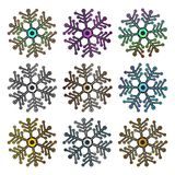 Big Set of collorful metallic Futuristic snowflake isolated on white background. stock illustration