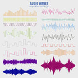Big set color sound waves . Audio equalizer technology, pulse musical. Vector illustration . Royalty Free Stock Images