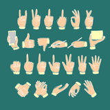 Big set of colored doodle hands. Showing pointing, like, dislike, victory, holding stuff, writing, clapping. Hand drawn vector cartoon illustration for your Stock Photo