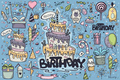 Big set of colored doodles drawn by hand for birthday party  Royalty Free Stock Images