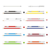 Big set of colored engineering and office pencils with erasers. Stock Photo