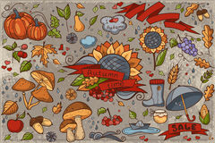 Big set of colored hand-drawn doodles on autumn theme stock illustration