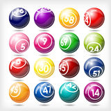 Big set of colorful bingo or lottery balls vector illustration
