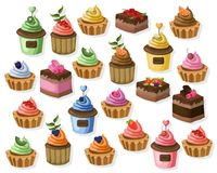 Big set of colorful desserts. Tartlet, cheesecake, mousse Vector illustration. S Royalty Free Stock Image