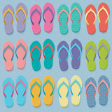 Big set of colorful flip flops. Big set of colorful pairs of flip flops, illustration in flat design style Royalty Free Stock Images