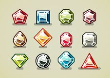 Big set of colorful gems. Big set of nine colorful gems of different shapes royalty free illustration